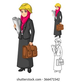 Muslim Businesswoman Architect Wearing Pink Veil or Scarf with Holding Briefcase Cartoon Character Vector Illustration