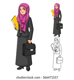 Muslim Businesswoman Wearing Fuchsia Veil or Scarf with Holding Briefcase Cartoon Character Vector Illustration
