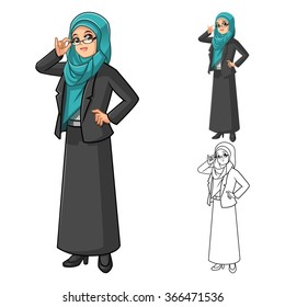 Muslim Businesswoman Wearing Green Tosca Veil or Scarf Cartoon with Glasses Character Vector Illustration