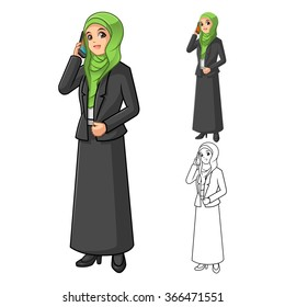 Muslim Businesswoman Wearing Green Veil or Scarf with Holding Smart Phone Cartoon Character Vector Illustration
