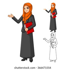 Muslim Businesswoman Wearing Orange Veil or Scarf with Welcoming Hands Cartoon Character Vector Illustration