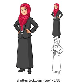 Muslim Businesswoman Wearing Red Veil or Scarf  with Hands On Hip Cartoon Character Vector Illustration