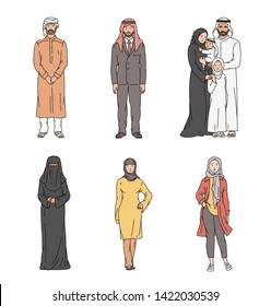 Muslim cartoon character set - people in traditional Arab clothing and religious Islam headwear standing and posing, men in turban and women in hijab, burka - isolated hand drawn vector illustration