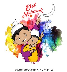 Muslim child showing Eid Moon .Vector illustration on the holy festival of eid celebration.