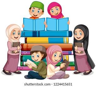 Muslim children reading book illustration