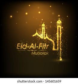 Muslim community festival Eid Al Fitr (Eid Mubarak) background with shiny illustration of mosque.