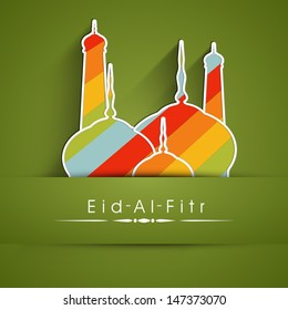 Muslim community festival Eid Al Fitr (Eid Mubarak) concept with colorful mosque on abstract green background. - Shutterstock ID 147373070