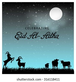 Muslim community festival Eid-Ul-Adha Mubarak celebrations greeting card design. Arabic Islamic calligraphy of text Eid-Ul-Adha. vector illustration