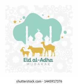 Muslim community festival of sacrifice, Eid Al Adha greeting card design with sheep cow beef camel