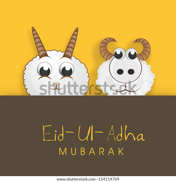 Muslim community festival of sacrifice Eid Ul Adha greeting card or background with sheep on abstract yellow and brown background.