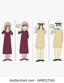Muslim couple with flu taking care of protective mask. Protection for virus Covid19