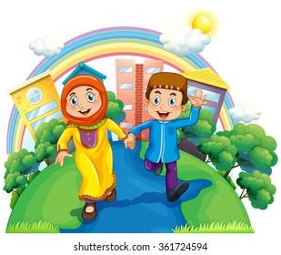 Muslim couple holding hands illustration