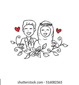 Muslim couple wedding card.