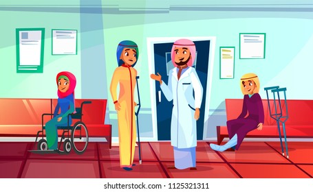 Muslim doctor and patient vector illustration of woman with trauma and crutch or in wheelchair visit traumatologist for consultation. Saudi Arabian people in khaliji and hijab in traumatology clinic