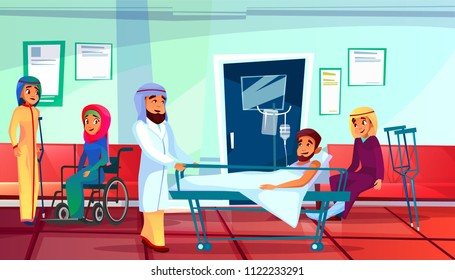 Muslim doctor and patients vector illustration of man in medical reanimation couch and women with trauma and crutch or in wheelchair waiting in traumatology clinic