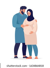 Muslim family awaiting the birth of a child. A pregnant woman in a hijab, a man in traditional dress hugs and takes care of his wife. Flat cartoon vector illustration