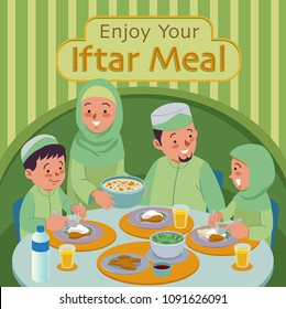 Muslim Family blessing Ramadan Kareem. Enjoy your Iftar Meal. The evening meal eaten by muslims after the sun has gone down during Ramadan.