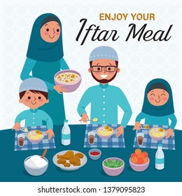 Muslim Family blessing Ramadan Kareem. Enjoy your Iftar Meal. The evening meal eaten by muslims after the sun has gone down during Ramadan. - Vector
