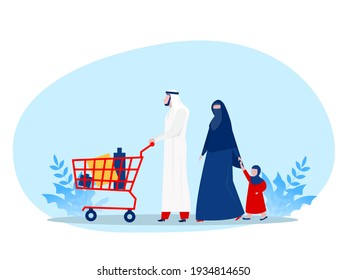 Muslim family buying shopping with wheeling shopping cart in grocery store. Vector illustration for retail, lifestyle, Arab people concept