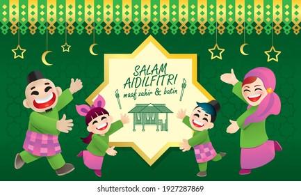 A Muslim family celebrating Raya festival. With Raya elements and colorful background. Caption: happy Hari Raya. Vector.