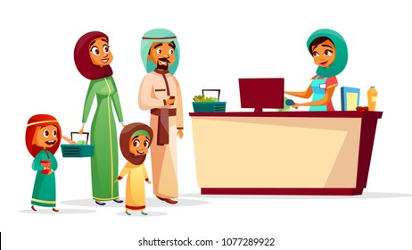 Muslim family at checkout counter vector illustration of Saudi Arabian man and woman in khaliji, hijab with children and supermarket shopping baskets. Muslim cashier scanning purchase barcode