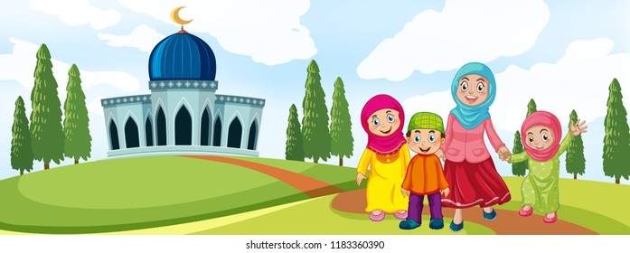 islamic cartoon images stock photos vectors shutterstock https www shutterstock com image vector muslim family front mosque illustration 1183360390