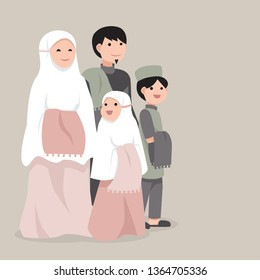 Muslim family go to pray to mosque