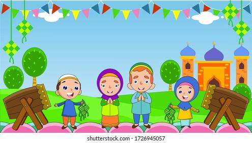 islamic cartoon images stock photos vectors shutterstock https www shutterstock com image vector muslim family greeting celebrating eid mubarak 1726945057