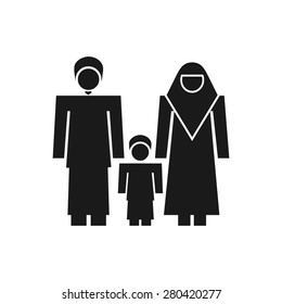muslim family icon symbol logo template