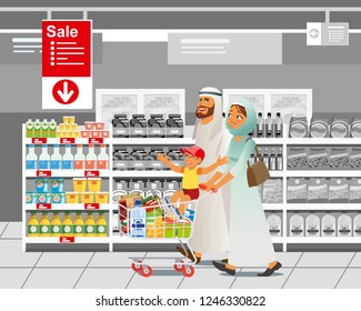 Muslim Family Shopping on Supermarket Sale Cartoon Vector Illustration with Parents in Arabian Ethnic Clothes, Riding Child on Shopping Cart with Food near Shelves in Supermarket. Food Savings Concept