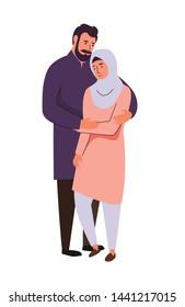 Muslim family, supporting arab couple. Saudi man and sad woman in islamic hijab clothing vector illustration.