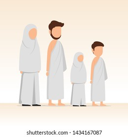 Muslim family wearing ihram for hajj and umrah pilgrimage. Vector cartoon illustration