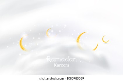 Muslim feast of the holy month of Ramadan Kareem. Greeting card template with crescent moon and cloud and light effect. Flat vector illustration EPS 10.