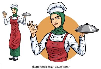 560+ Gambar Kartun Koki Hijab Terbaru