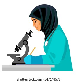 Muslim female doctor looking through microscope and writing. Asian woman scientist  working in the medical laboratory. Cartoon flat vector illustration isolated on white background.
