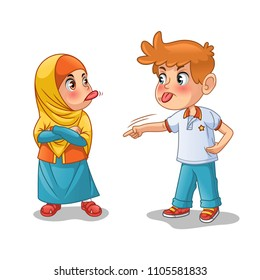 Muslim girl and boy mock each other by showing their tongues cartoon character design vector illustration, isolated against white background.