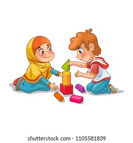 Muslim girl and boy playing with building blocks cartoon character design vector illustration, isolated against white background.