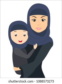 Muslim girl with a daughter in her arms, isolated vector illustration.