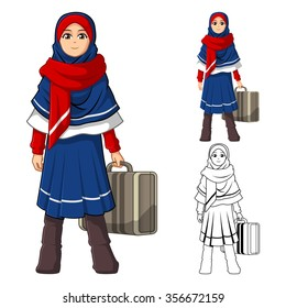 Muslim Girl Fashion Wearing Blue Red Veil or Scarf with Holding a Suitcase and Winter Outfit Include Flat Design and Outlined Version Cartoon Character Vector Illustration