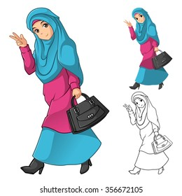 Muslim Girl Fashion Wearing Green Veil or Scarf with Holding a Black Bag and Dress Outfit Include Flat Design and Outlined Version Cartoon Character Vector Illustration