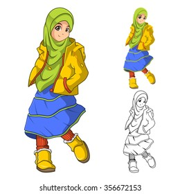 Muslim Girl Fashion Wearing Green Veil or Scarf with Yellow Jacket and Boots Include Flat Design and Outlined Version Cartoon Character Vector Illustration