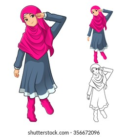 Muslim Girl Fashion Wearing Pink Veil or Scarf with Dress and Boots Include Flat Design and Outlined Version Cartoon Character Vector Illustration