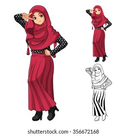 Muslim Girl Fashion Wearing Red Veil or Scarf with Polka Dots and Skirt Outfit Include Flat Design and Outlined Version Cartoon Character Vector Illustration