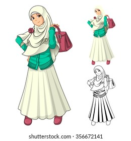 Muslim Girl Fashion Wearing Veil or Scarf with Holding a Bag and Dress Outfit Include Flat Design and Outlined Version Cartoon Character Vector Illustration