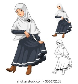 Muslim Girl Fashion Wearing White Veil or Scarf with Thanks Pose and Black Dress Outfit Include Flat Design and Outlined Version Cartoon Character Vector Illustration