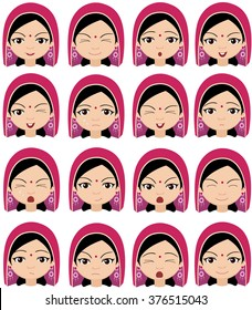 Muslim girl in a headdress emotions: joy, surprise, fear, sadness, sorrow, crying, laughing, cunning wink. Vector cartoon illustration