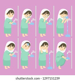 Muslim girl perform ablution steps, to clean self before prayer or shalat. Ablution steps for children vector collection