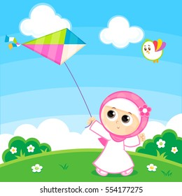 Muslim Girl Playing with a Kite , Happy Eid
