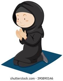 Muslim girl praying on the mattress illustration