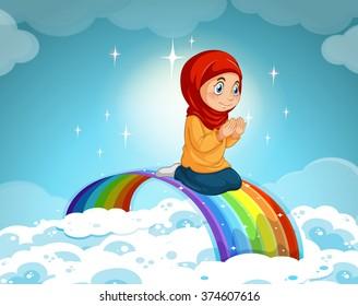 Muslim girl praying over the rainbow illustration